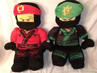 "Lot (2) Lego Ninjago Movie Red & Green Ninja 20"" Plush Buddy Bed Pillow Pal"