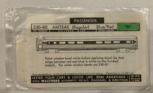 WALTHERS N SCALE DECAL - AMTRAK PASSENGER CAR - EARLY SCHEME - 938-230-80