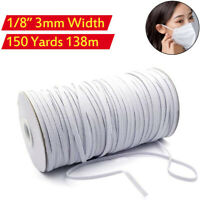 """150 Yards 3mm 1/8"""" Elastic Band Rope Braided Knit Cord for DIY Sewing Face Mask"""