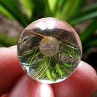 9g 18.5mm Water Clear Sphere Natural Golden Hair Rutilated Quartz Crystal Ball