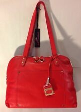 Innue Red Leather Satchel Tote Bowling Bag Style Purse Made In Italy Handbag NEW