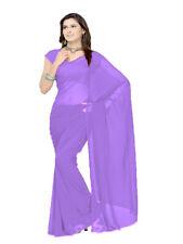 6 Yard Saree Plain Sheer Chiffon Fabric Indian Saree For Women Medium purple C26