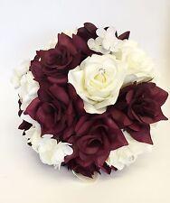 """9"""" bouquet: Burgundy Ivory Rose Hydrangea Bridal Bouquet Wedding Silk Flower"""