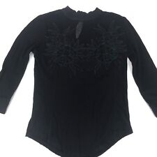 Free People Women's Top, Black Size S 3/4 Sleeve Floral Design Neckline