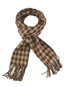 Mens Women Unisex Buffalo Check Plaid Scarf Beige/Brown Squares Winter Scarves