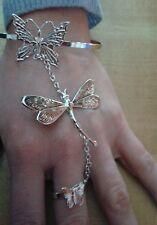 baciamano  gioiello farfalle BAGNO argento lucido  BACIA MANO BRACCIALE ANELLO