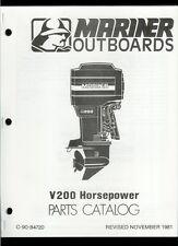 Orig 1981 Mariner V200 HP Outboard Motor/Engine Illustrated Parts List Catalog