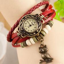 Reloj Pulsera Reino Unido Ladies Aspecto de Cuero Multicapa de Búho encanto vintage rojo 8019