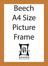 Handmade Beech Brown Wooden Picture Frame - A4 Size
