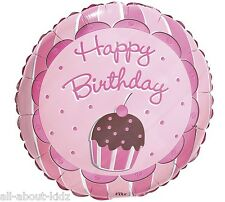 CUPCAKE HAPPY BIRTHDAY Foil Balloon ~ 18 inches Party Supplies Decorations