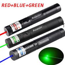 3PCs Green+Red+Blue Purple Laser Pointer Lazer Pen Adjustable Focus/Zoom 1mW USA