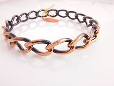 Vtg New Old Stock 1970's Solid Copper dark detailing Bangle Bracelet 23 grams