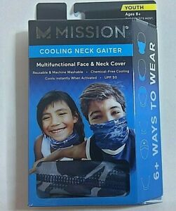 Mission - Cooling Neck Gaiter - Youth 8+ - One Size - Blue Camo - NEW!