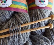 500 g Natural Light GREY Pure Wool Double Spun Chunky Aran Weight Skeins