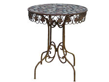 Table De Jardin En Fer Antique Style Art Meubles Shabby Chic Metal Rond Maison