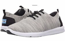TOMS men's DEL REY SNEAKERS Casual Shoes Lace Up Woven Pattern Light Grey 11.5