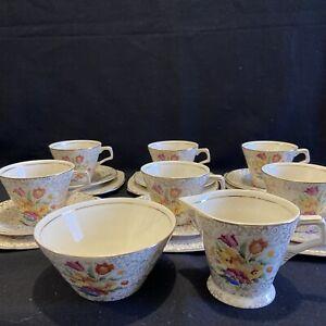 H&K Tunstall 1940's 20pce Petit Point Chintz Tapestry Sampler Tea Set