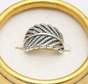 Original Silber S925 funkelnde Licht wie eine Feder Ringgröße begrenzte Stückzahl SALE
