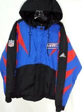 NY Giants APEX Pro Line Jacket Vintage Hooded Men L Large Nylon Blue Red Quilted