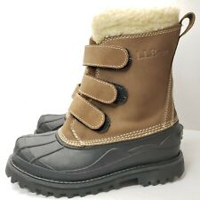 LL L.L. Bean Duck Boots 8 Sherpa Lined Winter Womens Leather Rubber Snow