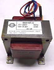 Trasformatore Lamellare  Prim: 220  Sec:31.8 V 2,5A 80 Watt  A.C.E.M. 993197-C