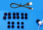 Beats BeatsX Charging Cable + 20 multi-sizes Spare Kit BLACK Ear Gels tips Buds
