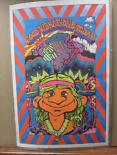 Vintage Black Light Poster Good Vibrations Peace Hippy 1972 Inv#452