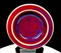 "STUDIO ART POTTERY ARTIST SIGNED DEEP RED AND BLUE FLAMBE GLAZE 5 1/2"" DISH"