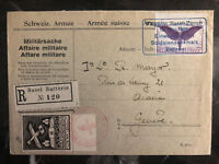 1925 Basel Zurich Switzerland Army Airmail Cover Soldier Memorial # C7 SF30