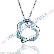 Stunning Platinum Plated Rhinestone Love Heart Necklace