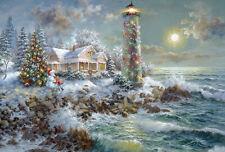 """Adventskalender Karte """"Leuchtturm"""" Nicky Boehme Nostalgie mit Umschlag Glimmer"""