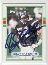 BILLY RAY SMITH SAN DIEGO CHARGERS 1989 TOPPS #309 ARKANSAS  AUTOGRAPHED CARD