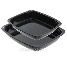 2 x Vitreous Enamel Roasting Tins Oven Baking Tray Roaster Deep Non Stick Pans