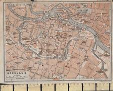 1925 GERMAN MAP ~ BRESLAU ~ CITY PLAN STATIONS CHURCHES SCHOOLS POST HOSPITAL