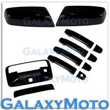 14-15 Chevy Silverado 1500 Black Mirror+4 Door Handle+Tailgate+Camera Hol Cover