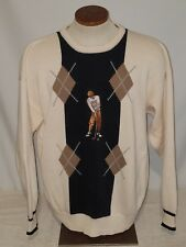Vintage John Ashford Golf Men's Argyle Golf Crewneck Sweater Large