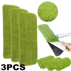 3X Microfibre Replacement Spray Mop Refill Heads Wet Dry Cleaning Washable Pads
