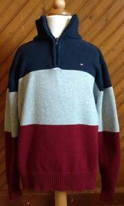 Tommy Hilfiger Boys Size L 1/4 Zip SweaterNavy Blue Gray Maroon Logo Front