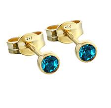 Paar Ohrstecker Gold 333er 3,50mm türkis Zirkonia Ohrringen Kinder M69