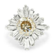 Vintage Fancy Brown Round Diamond Ballerina Ring 14K White Gold 3.57ctw
