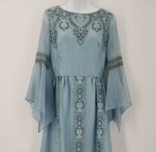 Vintage 1960s Alfred Shaheen Dress Screen Printed Dress Blue Floral Womens Sz 8