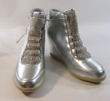"""Silver 3"""" Wedge Heel Round Toe Ankle Boot Front Rhinestone And Lace Size 8.5"""
