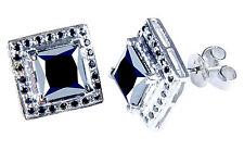 5.58+.ct AAA Black Real Moisanite Princess Cut Stud Earrings .925 Silver