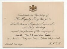 1930s Embossed Invitation to Birthday for King George V at Washington DC