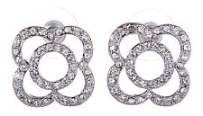Swarovski Elements Crystal Circle Pierced Earrings Rhodium Plated New 7113z