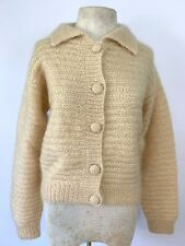 Vintage WHITE + WARREN Medium Soft Fuzzy Mohair Chunky Knit Cardigan Sweater