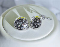 Echt 925 Sterling Silber Ohrringe Clips Zirkonia crystal Rund Nr 256