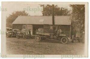 OLD MOTOR POSTCARD CAR / TRUCK WORKSHOP / GARAGE TRACTOR ETC REAL PHOTO 1920S