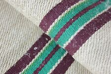 GRAINSACK GRAIN SACK linen BURGUNDY + GREEN rare unused hemp hand woven