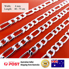 Necklace Chain Real 925 Sterling Silver S/F Solid Ladies Figaro Link